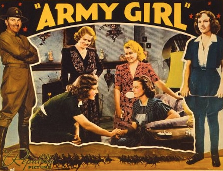 Heather Angel, Ruth Donnelly, Madge Evans, Preston Foster, and Barbara Pepper in Army Girl (1938)
