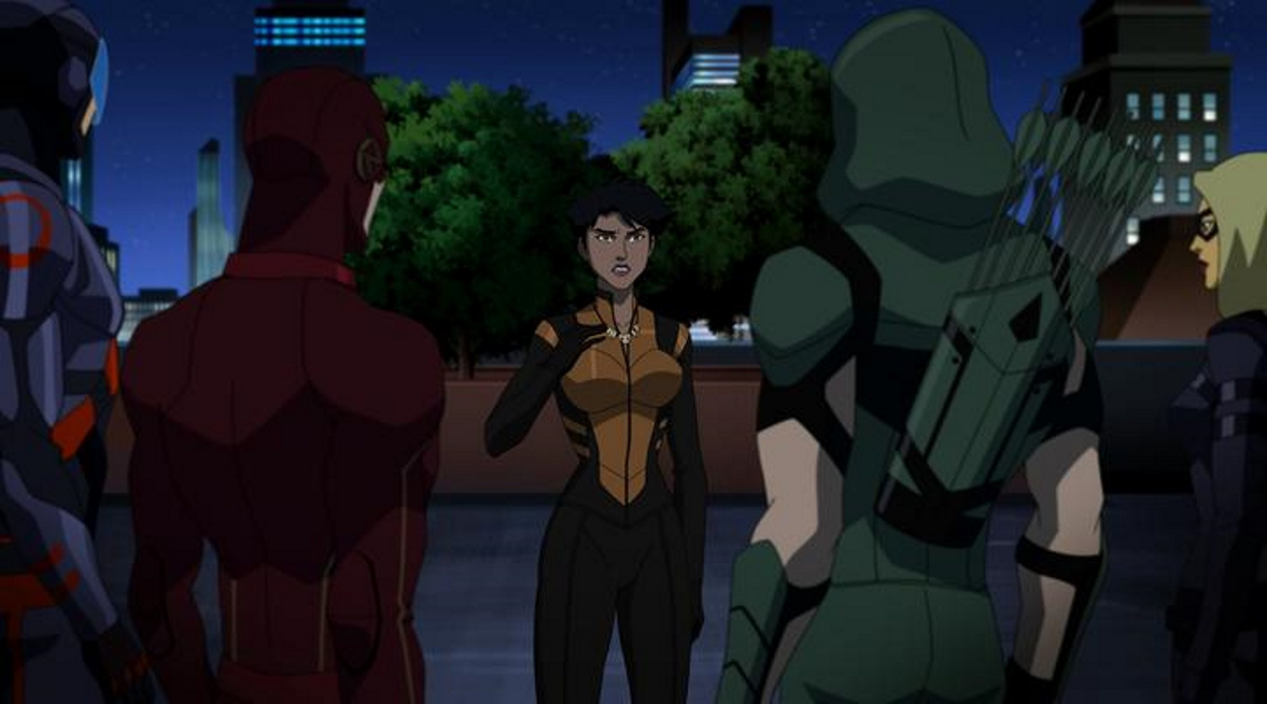 Megalyn Echikunwoke, Brandon Routh, Katie Cassidy, Stephen Amell, and Grant Gustin in Vixen (2015)