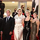 Vincent Lindon, Jean-Christophe Reymond, Andreas Rentz, Garance Marillier, Julia Ducournau, and Agathe Rousselle at an event for Titane (2021)