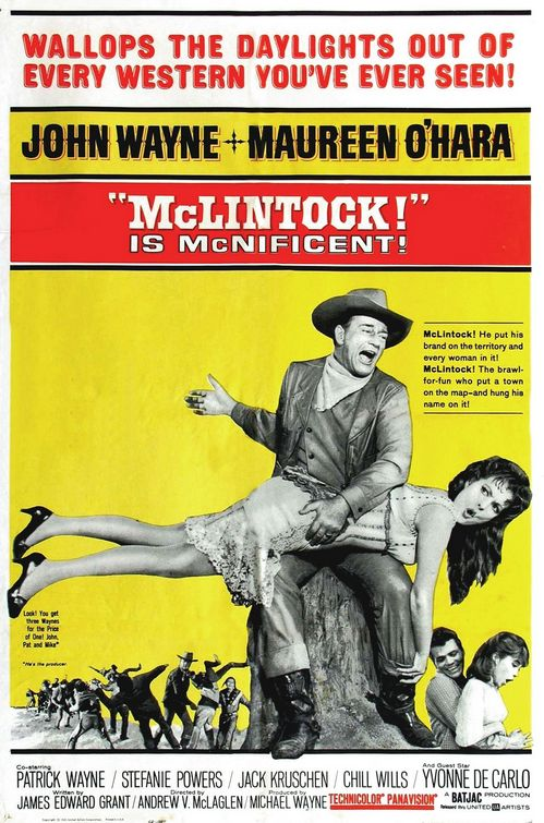 Maureen O'Hara, John Wayne, Stefanie Powers, and Patrick Wayne in McLintock! (1963)