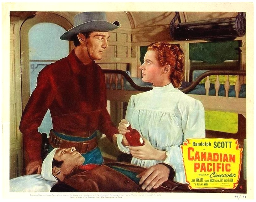 Randolph Scott and Jane Wyatt in Canadian Pacific (1949)
