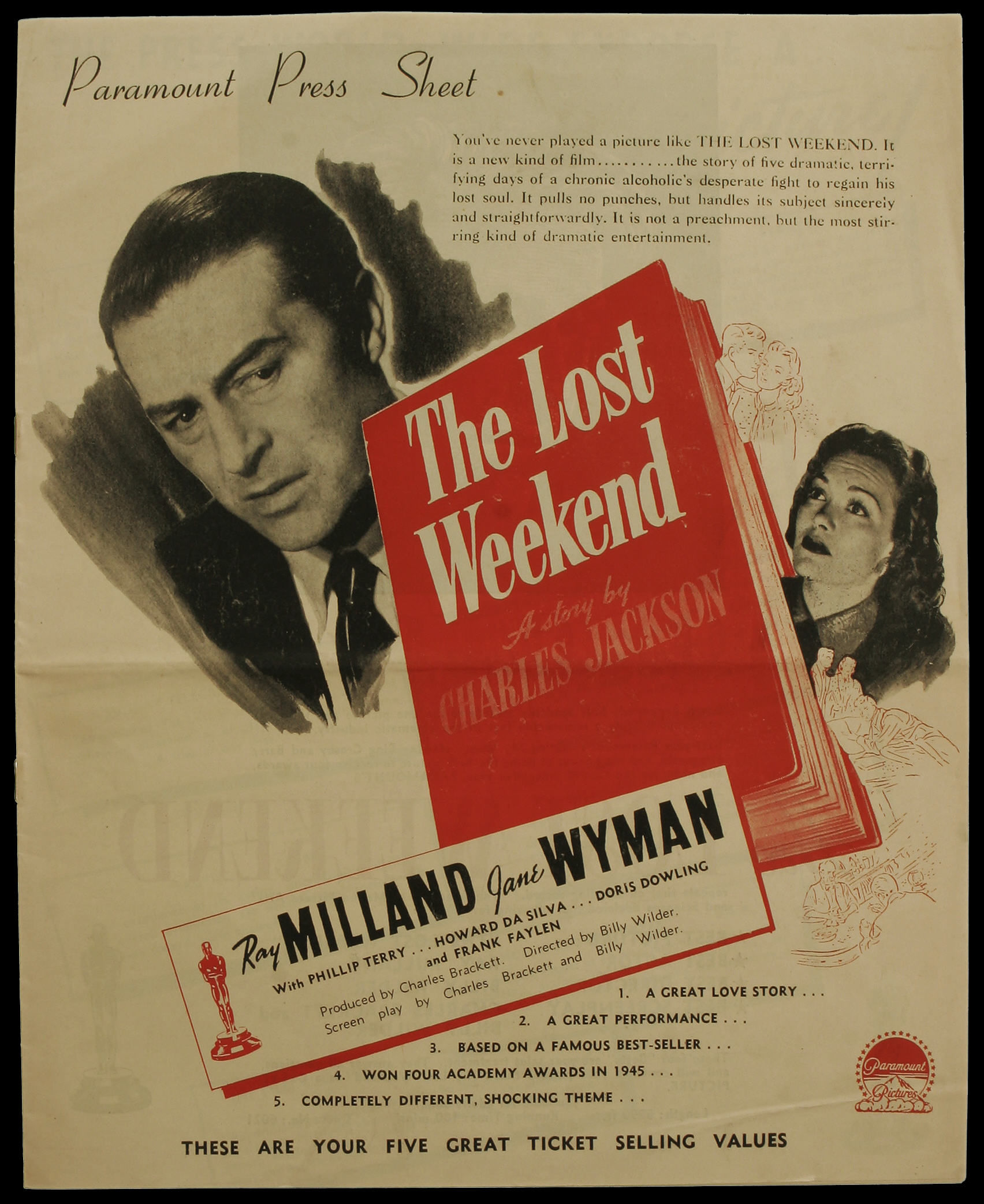 Ray Milland and Jane Wyman in The Lost Weekend (1945)