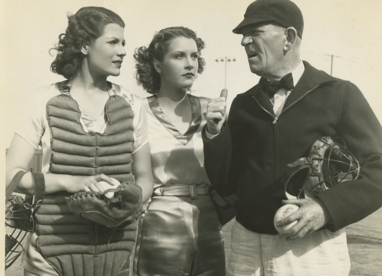 Rita Hayworth, Julie Bishop, and George McKay in Girls Can Play (1937)