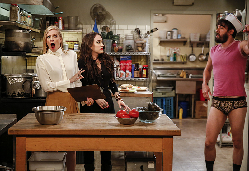 Kat Dennings, Jonathan Kite, and Beth Behrs in 2 Broke Girls (2011)