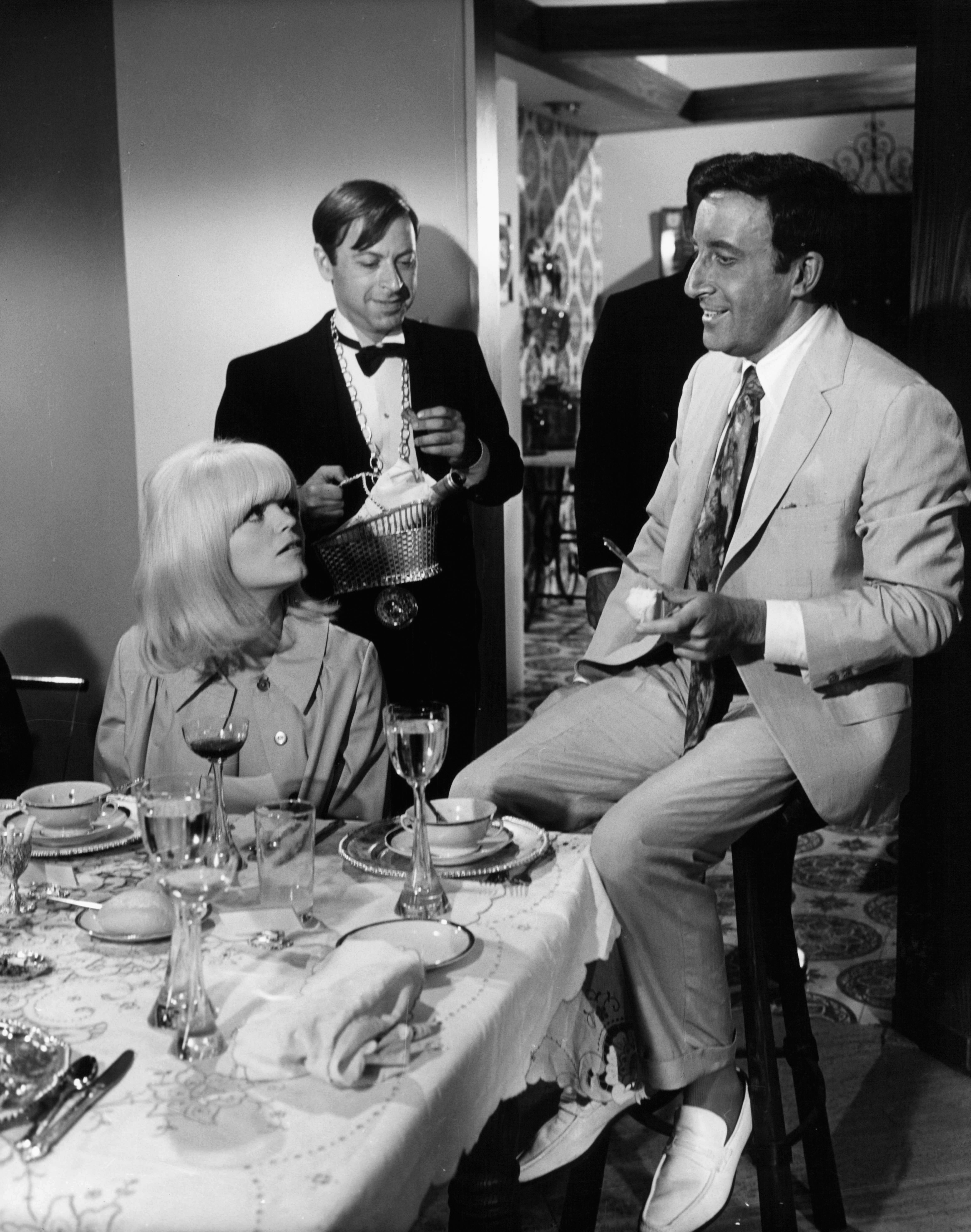 Peter Sellers, Steve Franken, and Carol Wayne in The Party (1968)