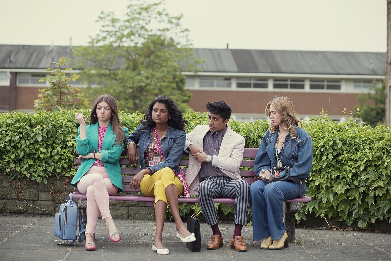 Aimee Lou Wood, Mimi Keene, Simone Ashley, and Chaneil Kular in Sex Education (2019)