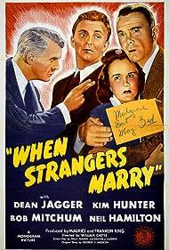 Robert Mitchum, Kim Hunter, Neil Hamilton, and Dean Jagger in When Strangers Marry (1944)