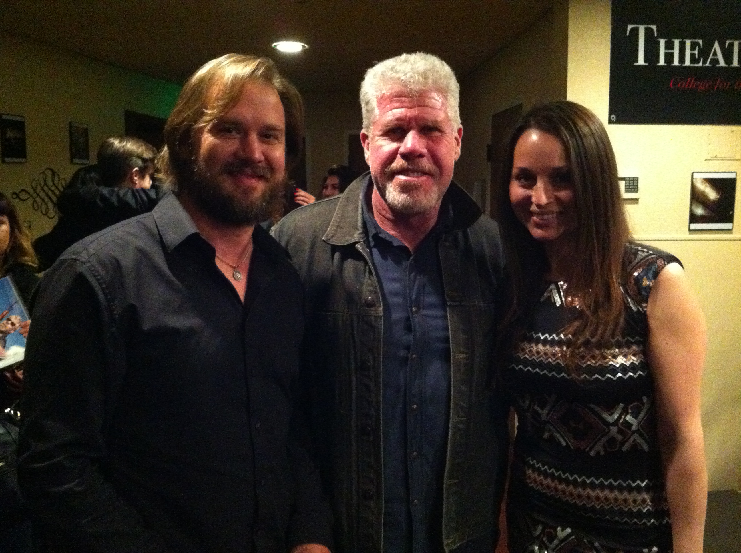Canadian Actor Sheldon Charron and his wife Monique Lopez with Ron Pearlman (Sons of Anarchy, Hellraiser) at the Hollywood premiere of Greg Francis' movie Poker Night.