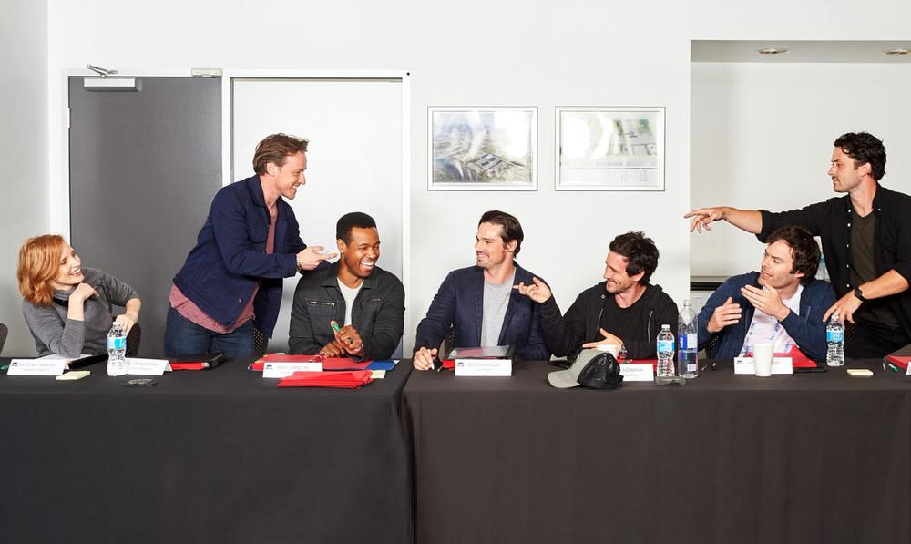 Bill Hader, James McAvoy, James Ransone, Jay Ryan, Jessica Chastain, Isaiah Mustafa, and Andy Bean at an event for It: Chapter Two (2019)