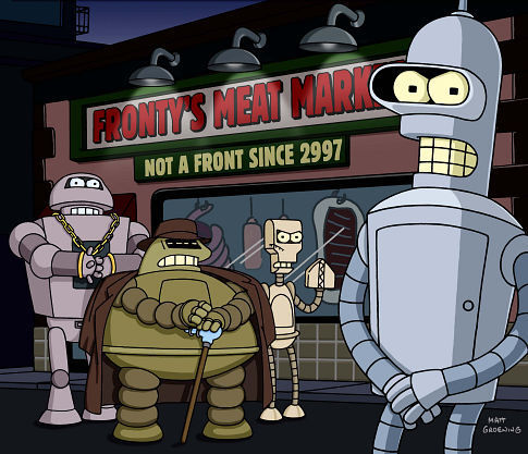 "Bender receives an offer he can't refuse when he's recruited by the secret robot mafia in the FUTURAMA episode ""Bender Gets Made"""