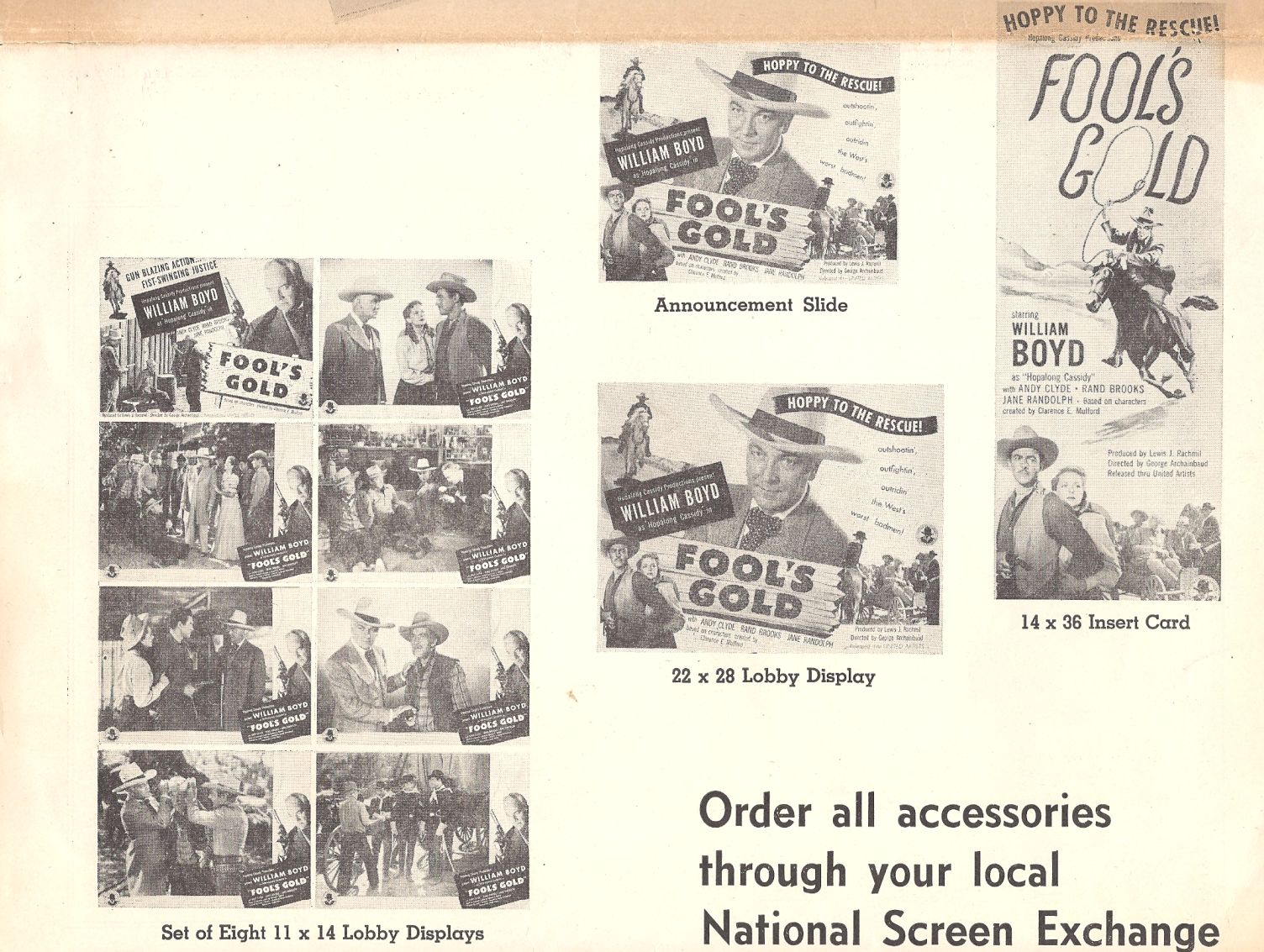 Steve Barclay, William Boyd, Rand Brooks, Andy Clyde, Earle Hodgins, Robert Emmett Keane, and Jane Randolph in Fool's Gold (1946)