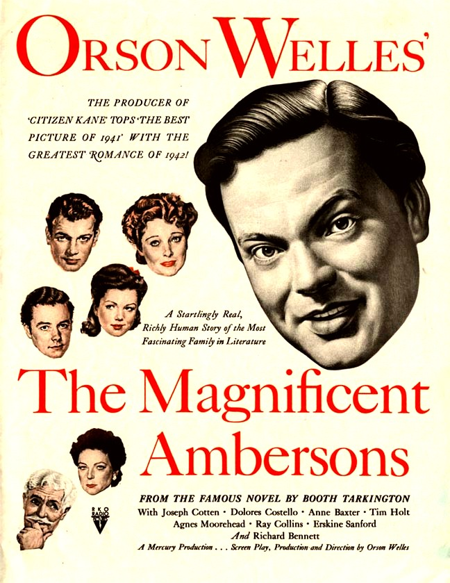 Orson Welles, Anne Baxter, Joseph Cotten, Agnes Moorehead, Dolores Costello, and Tim Holt in The Magnificent Ambersons (1942)