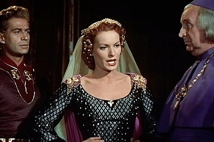 Maureen O'Hara, Eduard Franz, and George Nader in Lady Godiva of Coventry (1955)
