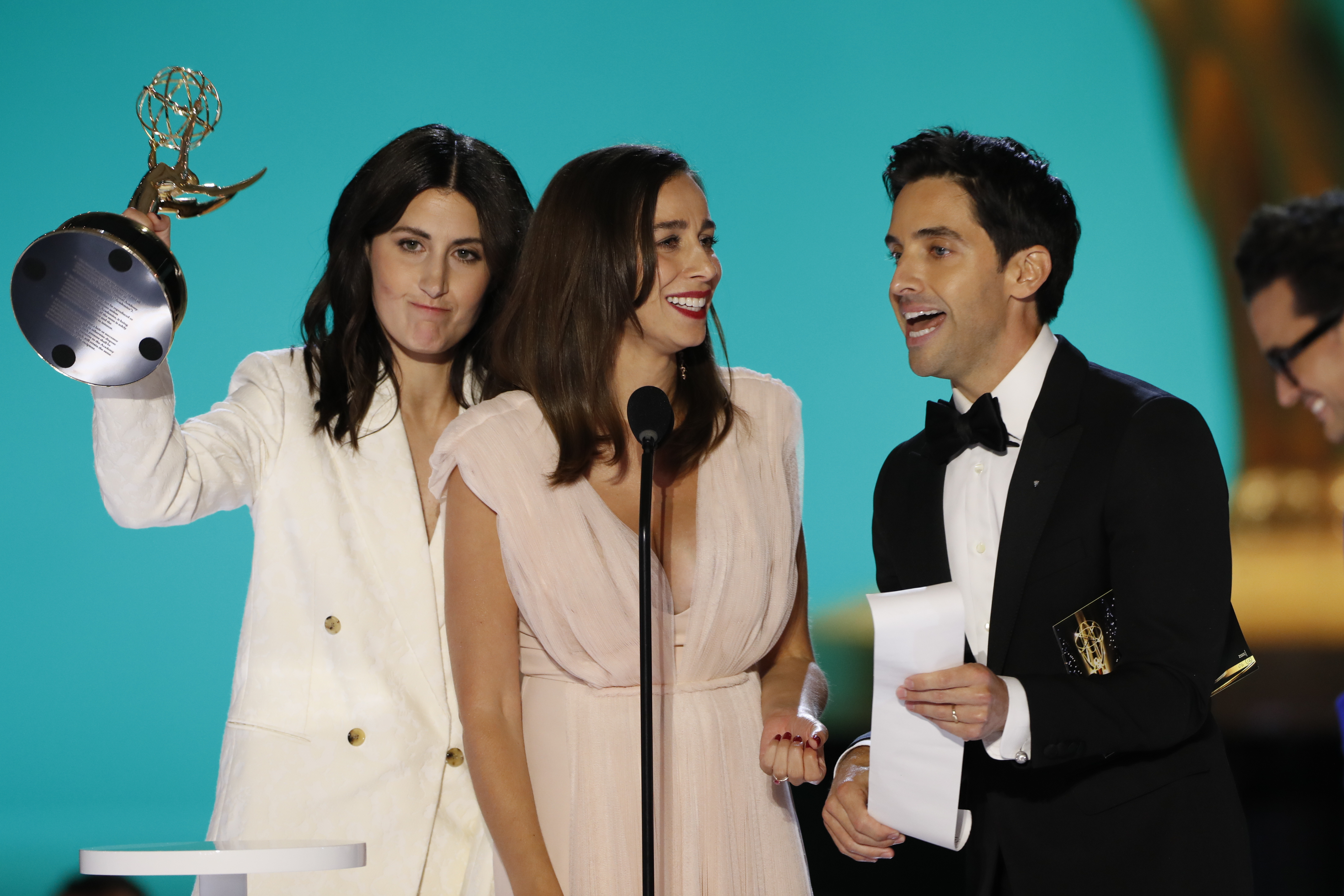 Lucia Aniello, Paul W. Downs, and Jen Statsky at an event for The 73rd Primetime Emmy Awards (2021)