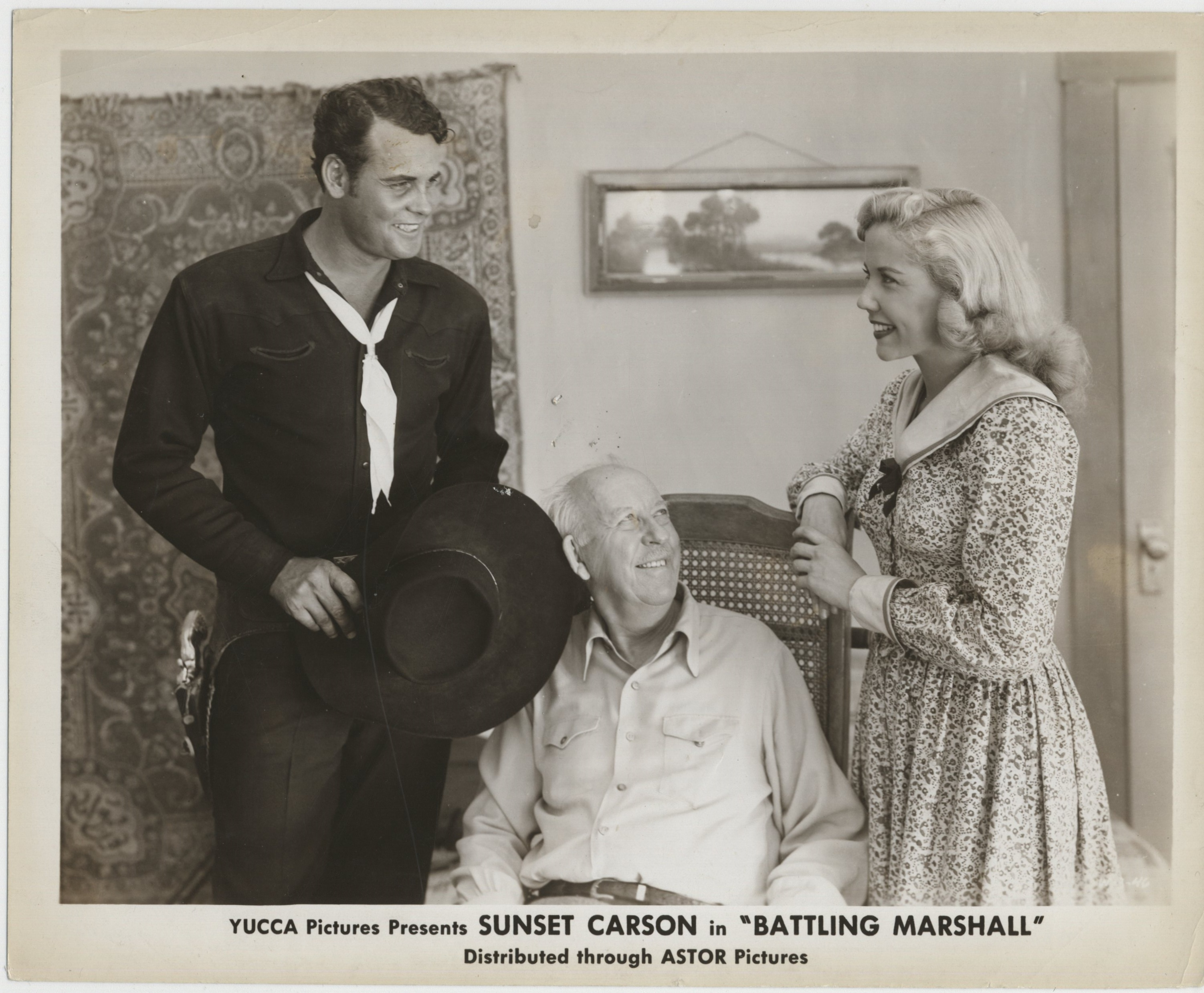 Jack Baxley, Sunset Carson, and Pat Starling in Battling Marshal (1950)