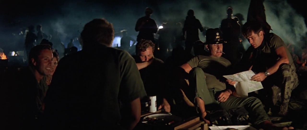 Robert Duvall, Martin Sheen, James Keane, and Kerry Rossall in Apocalypse Now (1979)