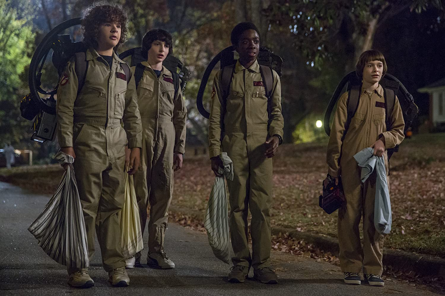Caleb McLaughlin, Finn Wolfhard, Noah Schnapp, and Gaten Matarazzo in Stranger Things (2016)