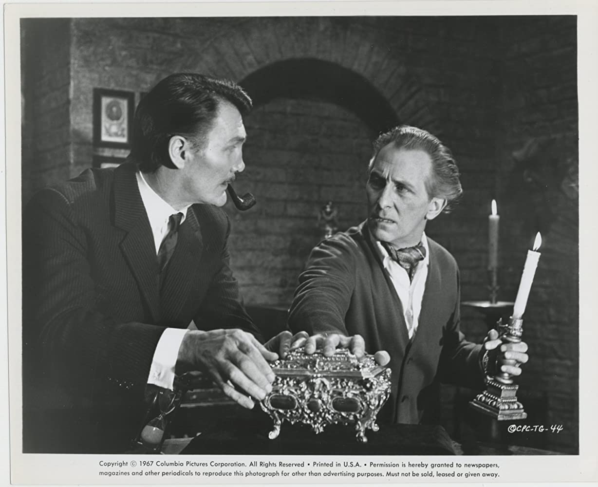 Peter Cushing and Jack Palance in Torture Garden (1967)