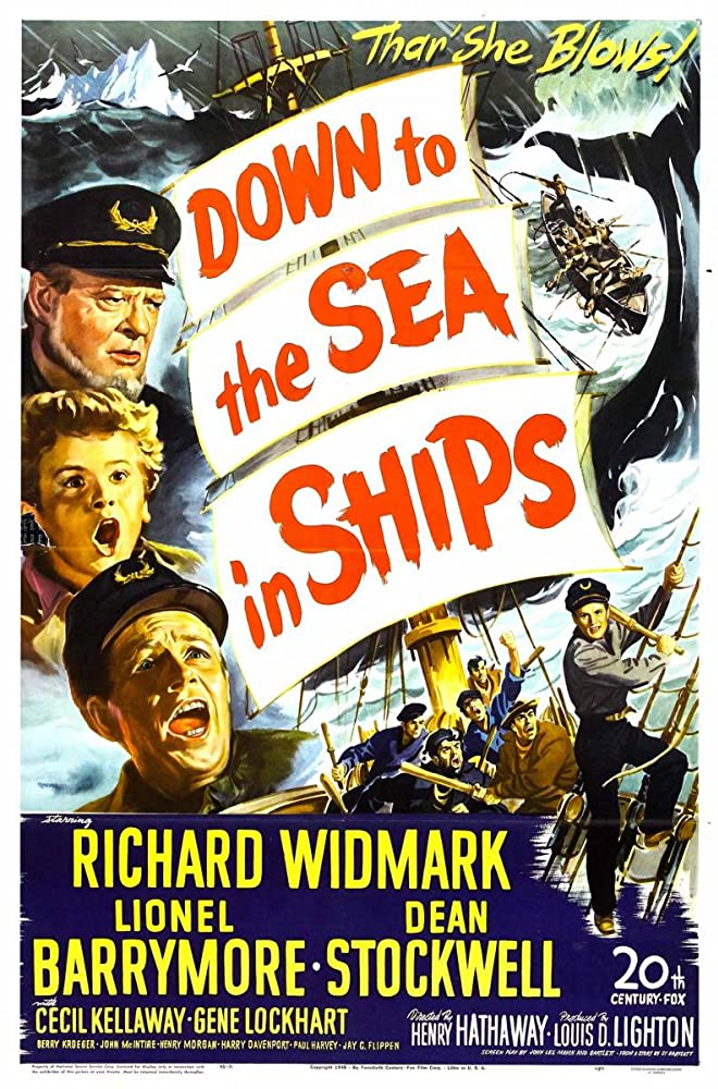 Lionel Barrymore, Dean Stockwell, and Richard Widmark in Down to the Sea in Ships (1949)