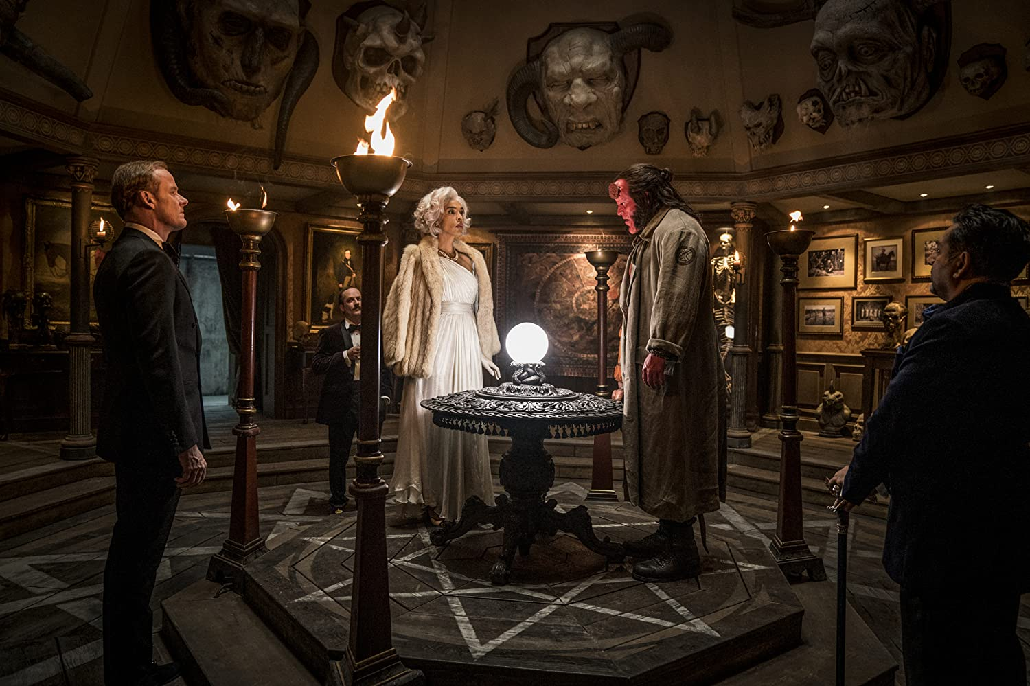 Nitin Ganatra, Michael Heath, Sophie Okonedo, Alistair Petrie, and David Harbour in Hellboy (2019)