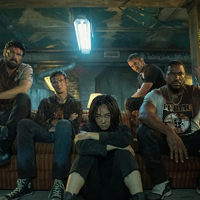 Laz Alonso, Karl Urban, Jack Quaid, Tomer Capon, and Karen Fukuhara in The Boys: Over the Hill with the Swords of a Thousand Men (2020)