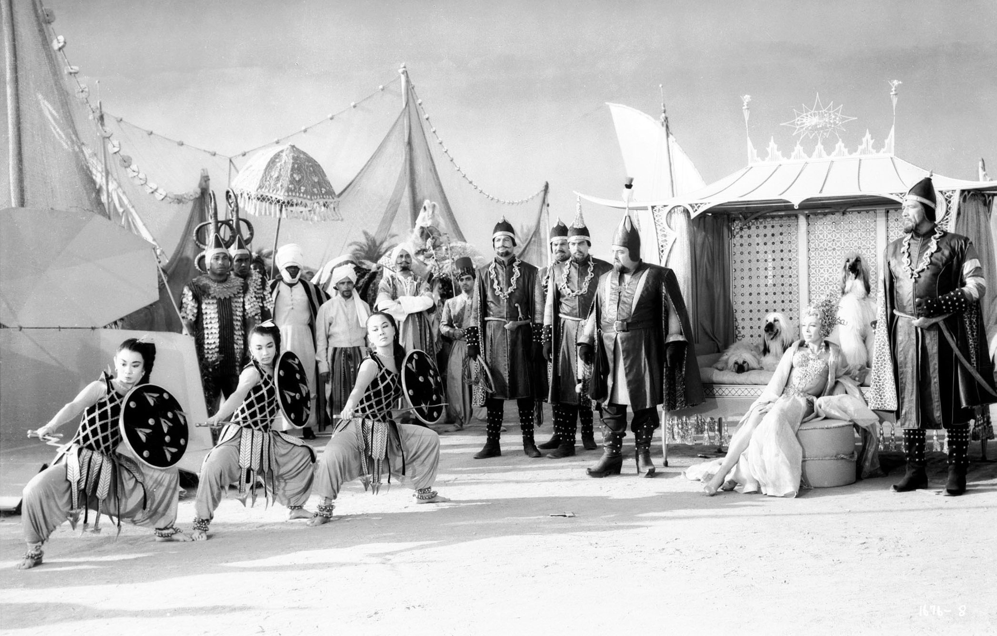 Lennie Bluett, Herman Boden, Buddy Bryan, Jack Dodds, Dolores Gray, Bert May, Hamil Petroff, Marc Wilder, and Reed Maxcy in Kismet (1955)