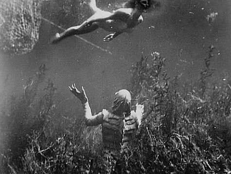 Julie Adams and Ricou Browning in Creature from the Black Lagoon (1954)
