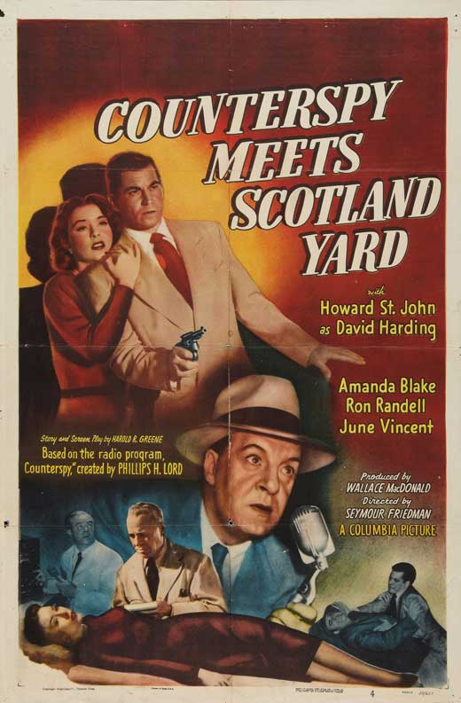 Amanda Blake, Ron Randell, and Howard St. John in Counterspy Meets Scotland Yard (1950)