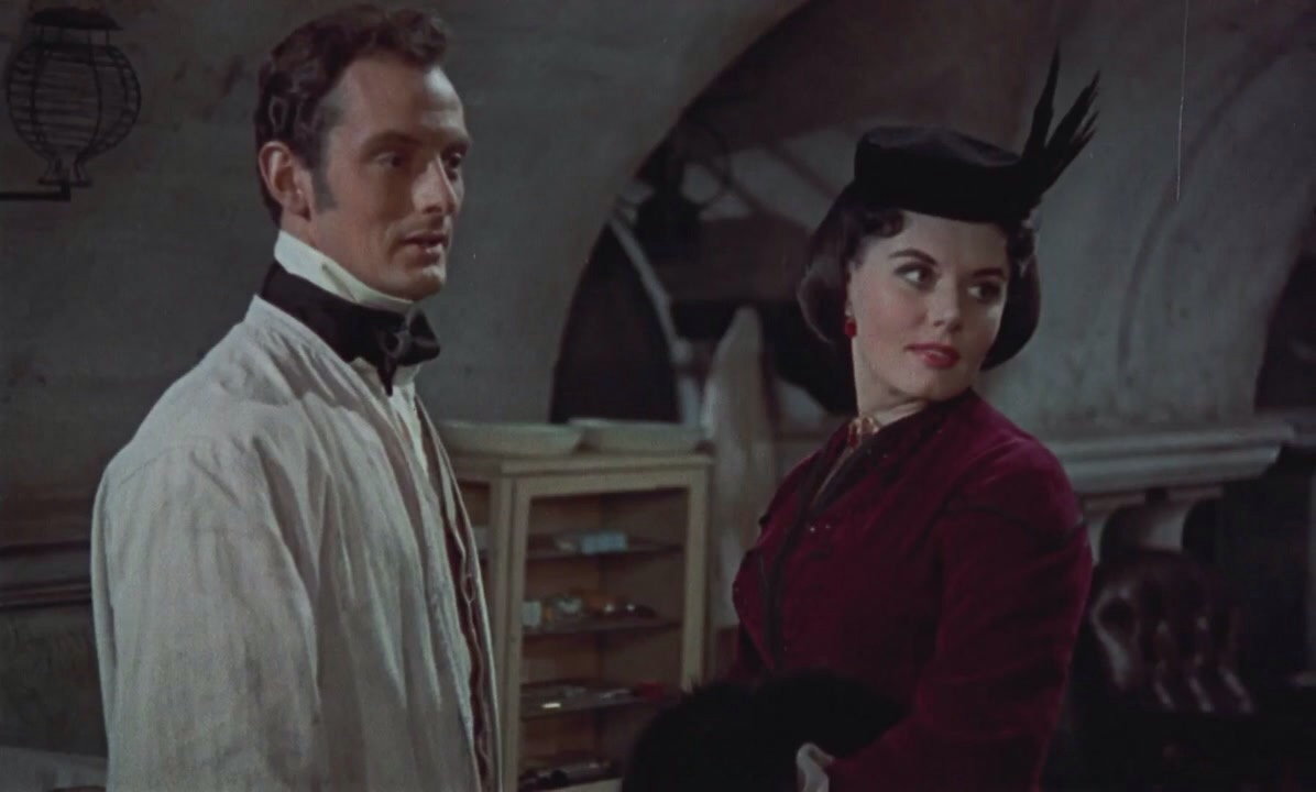Eunice Gayson and Francis Matthews in The Revenge of Frankenstein (1958)