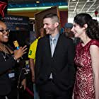 KateLynn Newberry and Andrew Herriage getting interviewed on the red carpet for the premier of Banger.