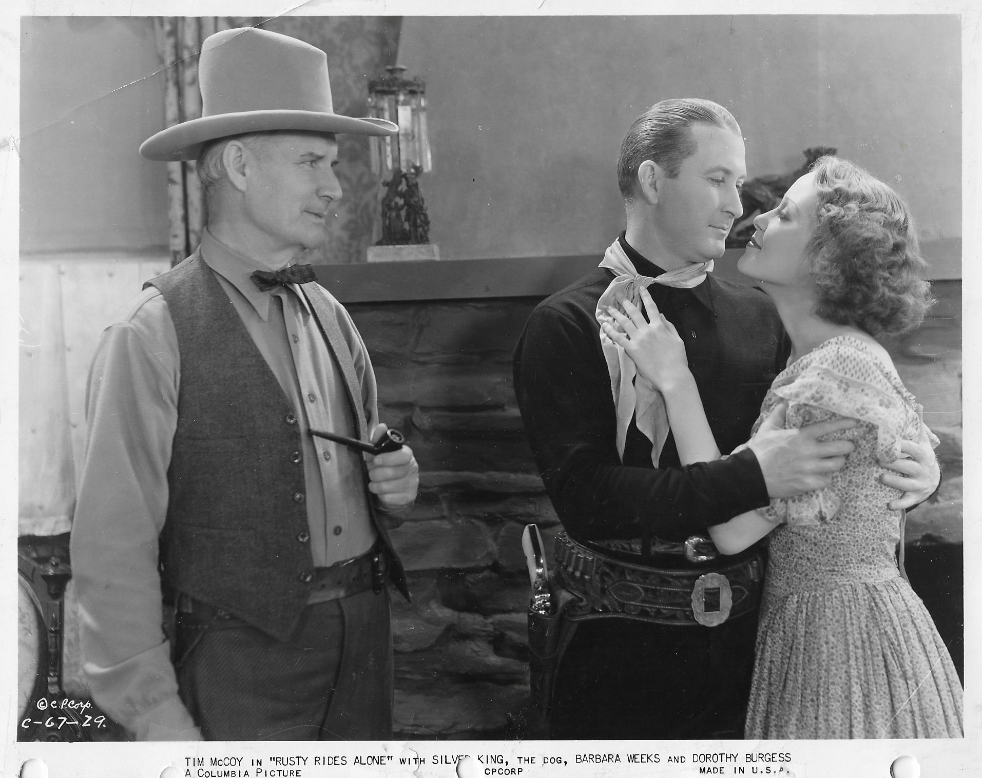 Tim McCoy, Clarence Geldart, and Barbara Weeks in Rusty Rides Alone (1933)