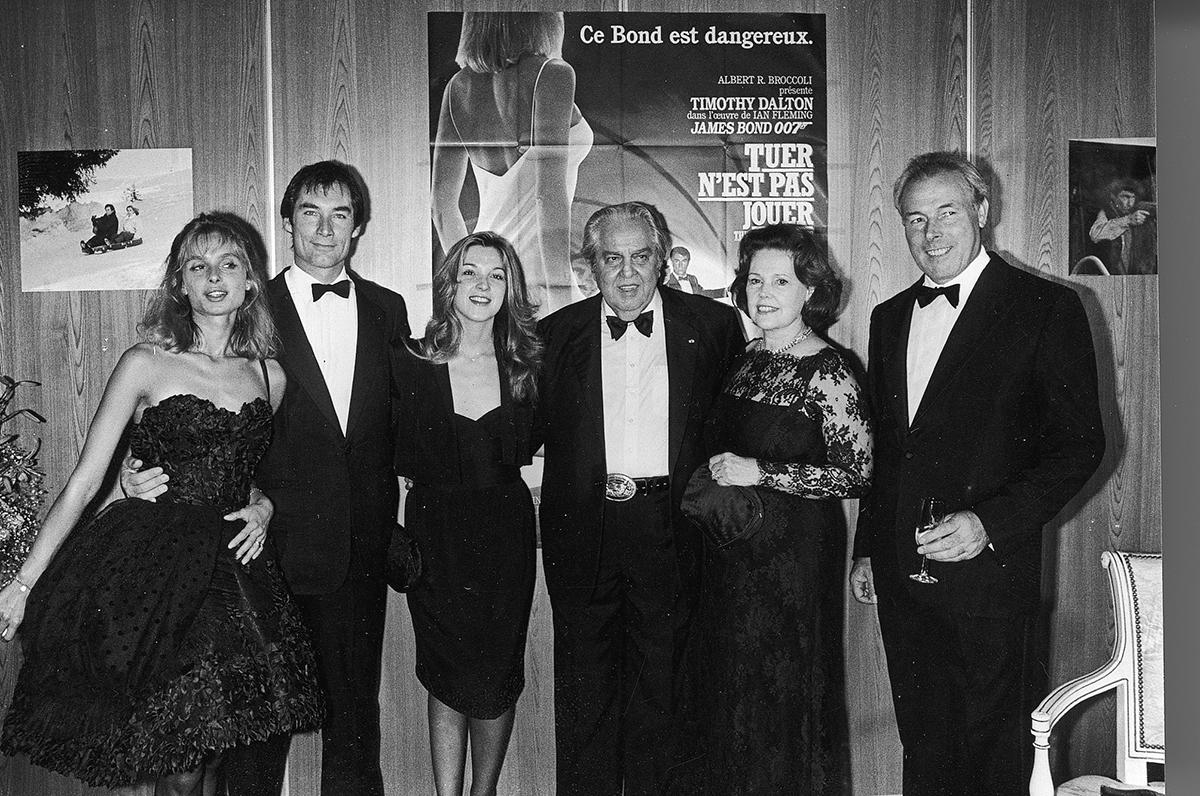 Timothy Dalton, Maryam d'Abo, Albert R. Broccoli, Barbara Broccoli, and John Glen at an event for The Living Daylights (1987)