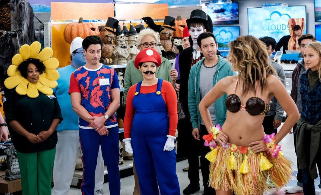 Danny Gura, America Ferrera, Ben Feldman, and Nico Santos in Superstore (2015)