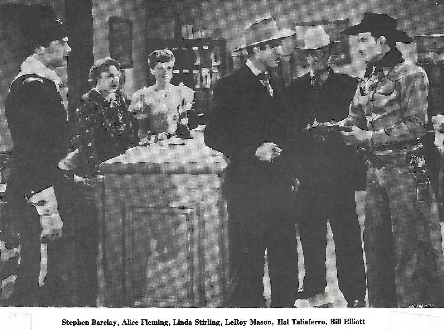 Steve Barclay, Bill Elliott, Alice Fleming, LeRoy Mason, Linda Stirling, and Hal Taliaferro in Vigilantes of Dodge City (1944)