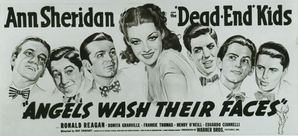 Gabriel Dell, Leo Gorcey, Huntz Hall, Billy Halop, Bobby Jordan, Bernard Punsly, and Ann Sheridan in Angels Wash Their Faces (1939)