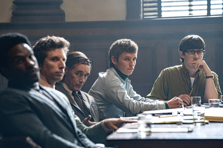 Mark Rylance, Ben Shenkman, Eddie Redmayne, Alex Sharp, and Yahya Abdul-Mateen II in The Trial of the Chicago 7 (2020)