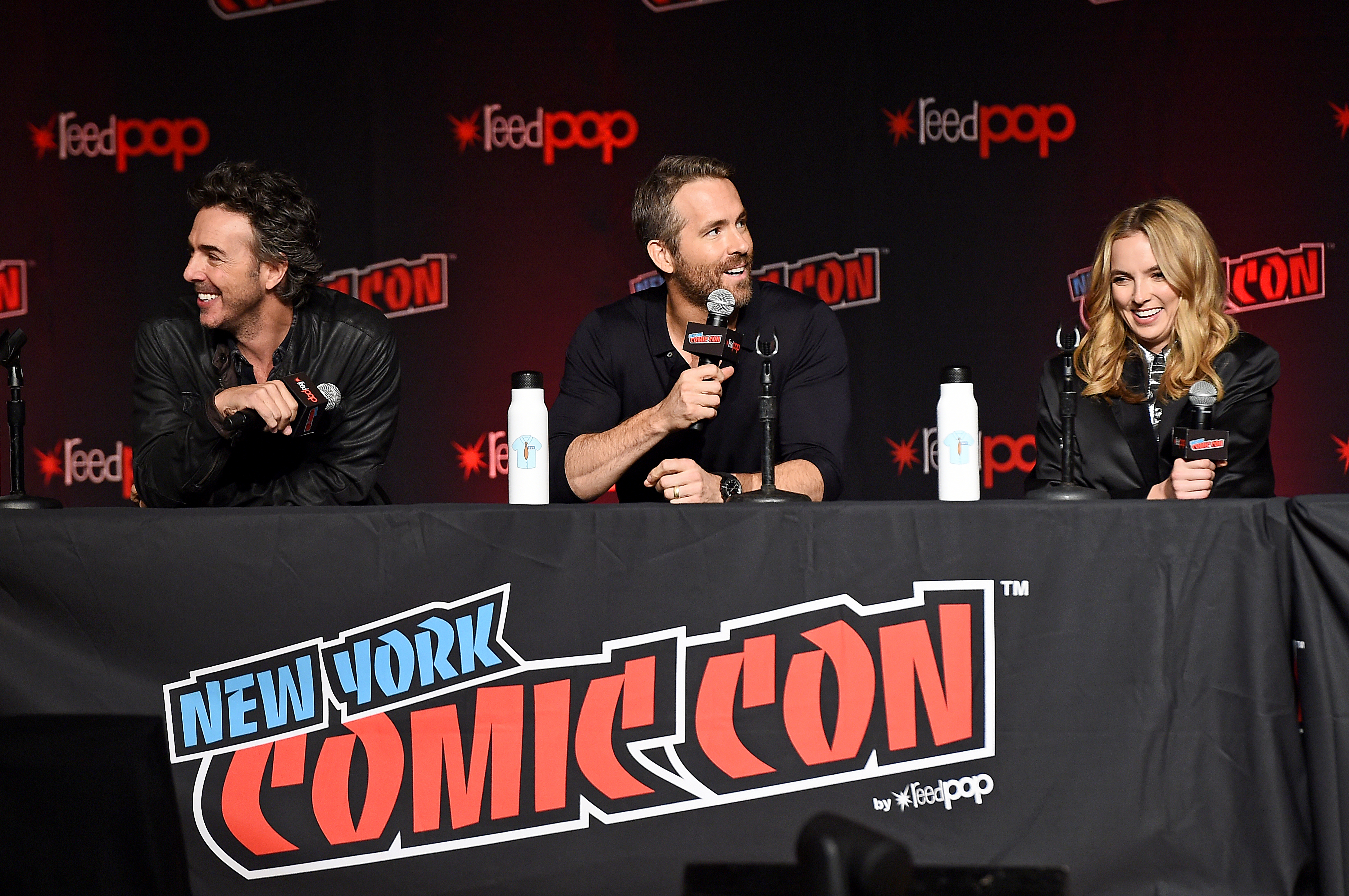 Ryan Reynolds, Shawn Levy, and Jodie Comer at an event for Free Guy