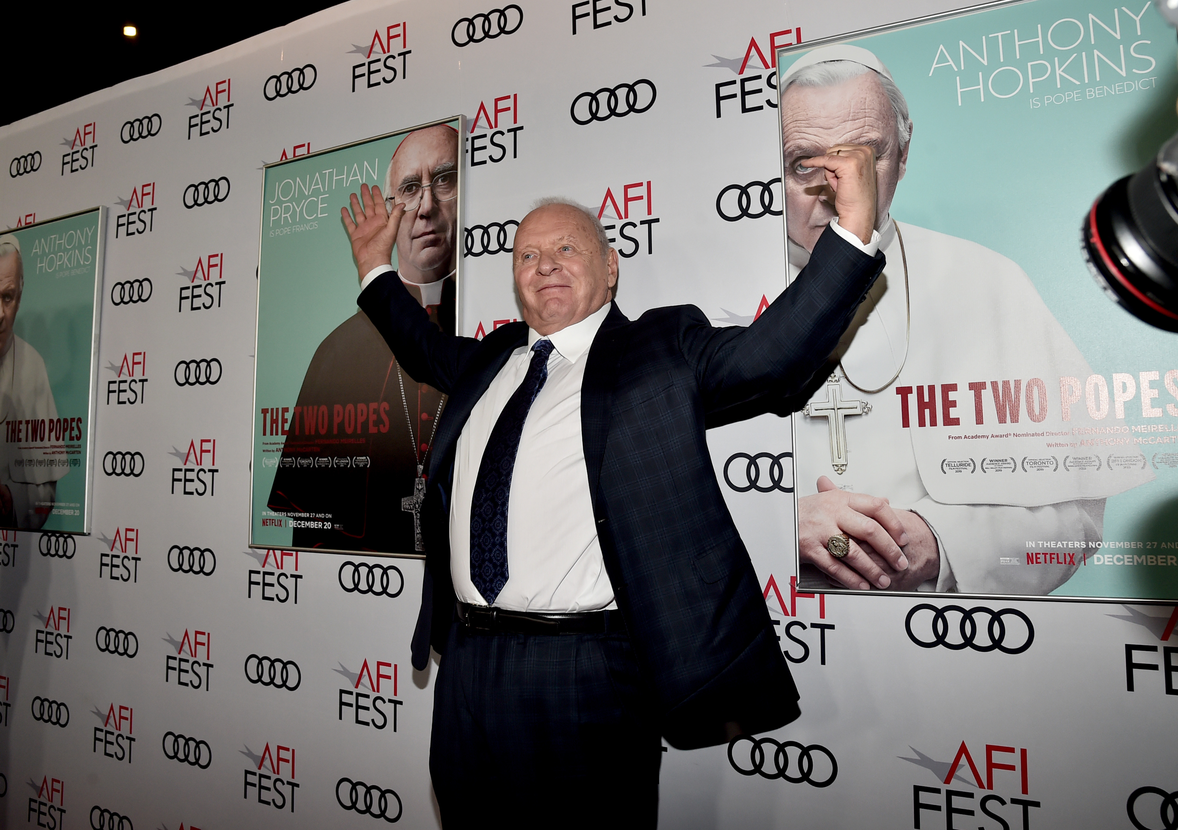 Anthony Hopkins at an event for The Two Popes (2019)