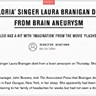 """Saddest Day Of My Life ...- """"never forget"""" in memory of Laura Branigan:https://www.spokesman.com/stories/2004/aug/29/laura-branigan-known-for-1982-hit-gloria-dies-at/"""