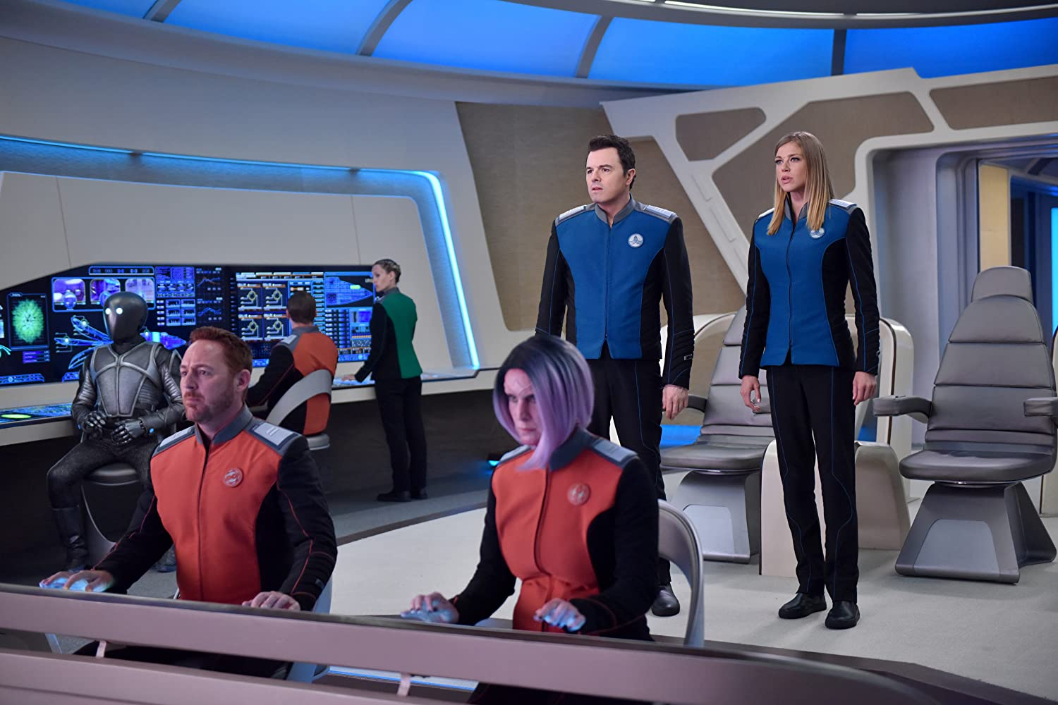 Scott Grimes, Seth MacFarlane, Adrianne Palicki, and Mark Jackson in The Orville (2017)