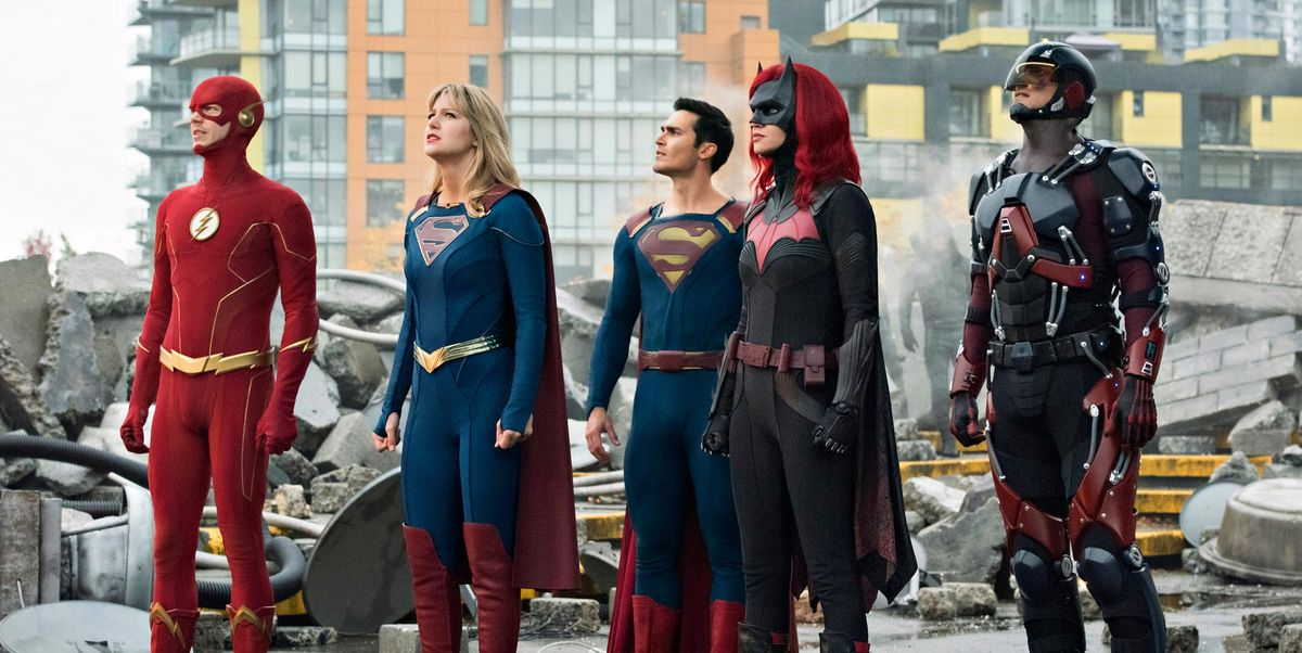 Tyler Hoechlin, Brandon Routh, Melissa Benoist, Grant Gustin, and Ruby Rose in Supergirl (2015)
