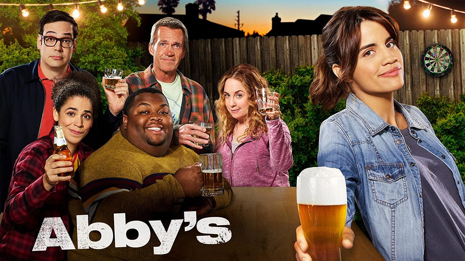 Jessica Chaffin, Neil Flynn, Nelson Franklin, Natalie Morales, Kimia Behpoornia, and Leonard Ouzts in Abby's (2019)