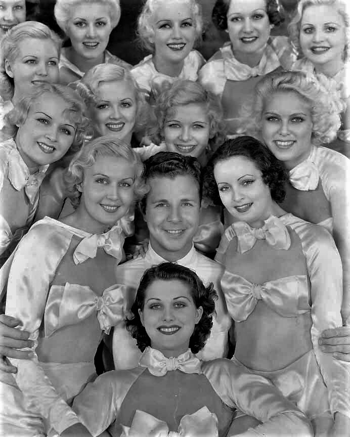 Loretta Andrews, Monica Bannister, Eleanor Bayley, De Don Blunier, Diane Bourget, Margaret Carthew, Dolores Casey, Mary Cassidy, Beatrice Coleman, Diane Cook, Virginia Dabney, Dick Powell, and Mary Casiday in Dames (1934)