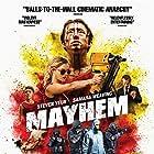 Caroline Chikezie, Samara Weaving, and Steven Yeun in Mayhem (2017)