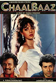 Sridevi, Sunny Deol, and Rajinikanth in Chaalbaaz (1989)