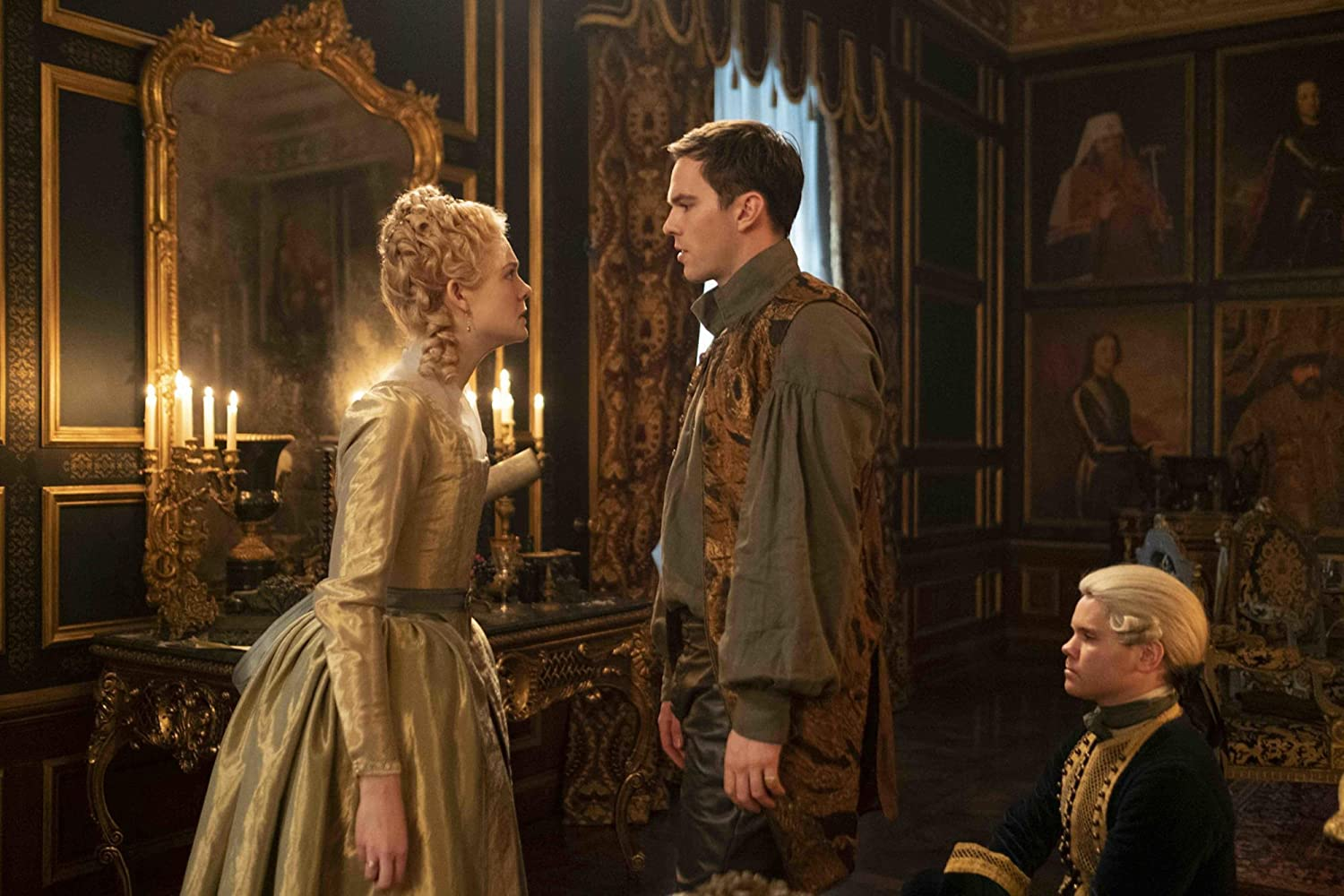 Nicholas Hoult and Elle Fanning in The Great (2020)