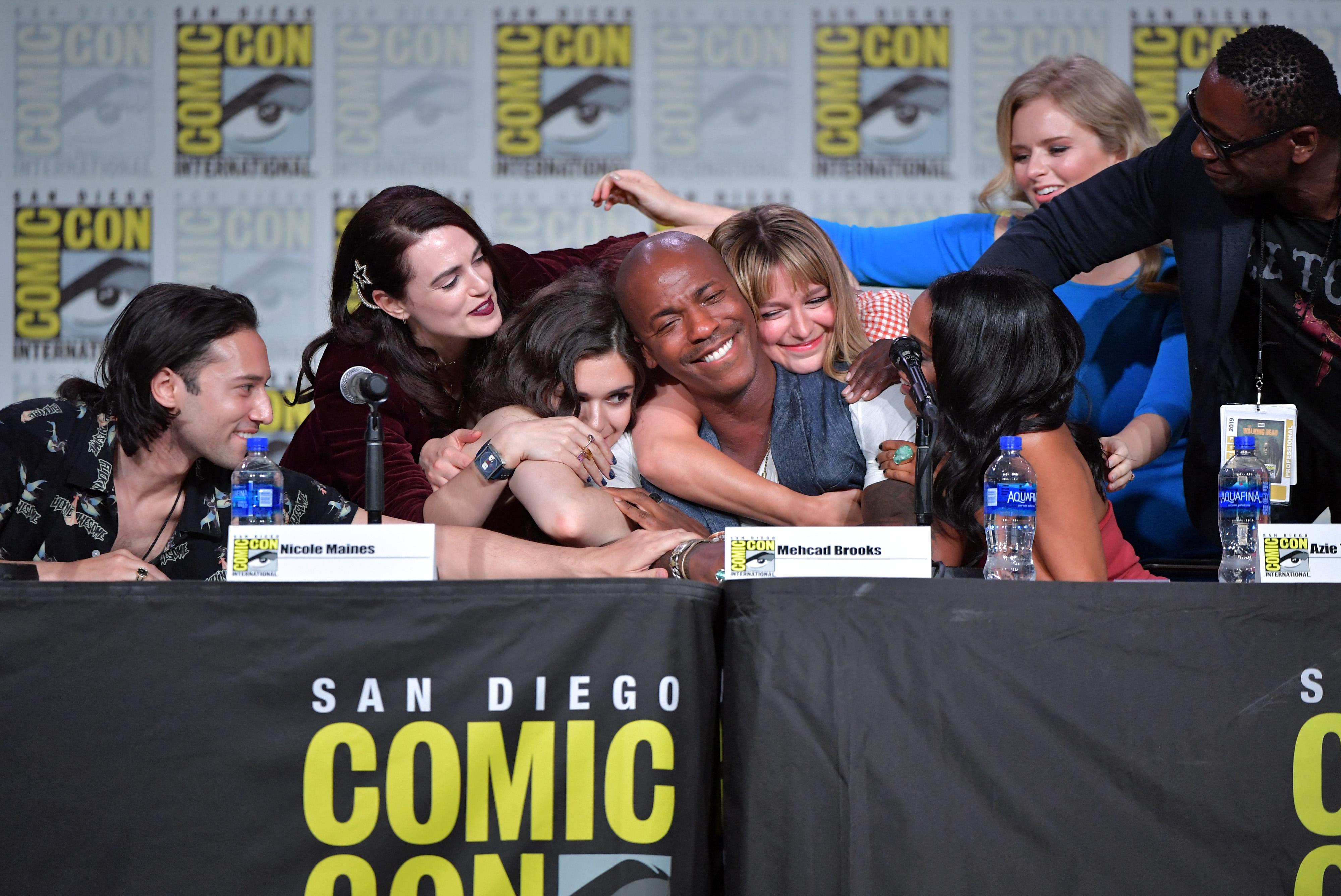 David Harewood, Mehcad Brooks, Jesse Rath, Andrea Brooks, Azie Tesfai, Melissa Benoist, Katie McGrath, and Nicole Maines at an event for Supergirl (2015)