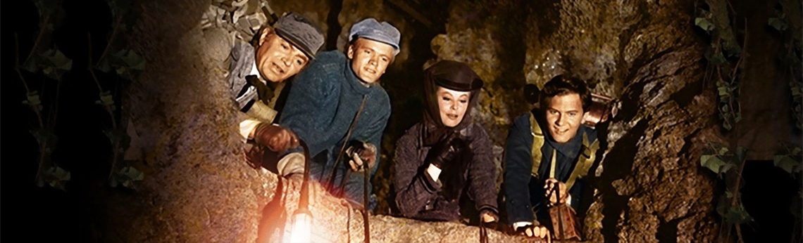 James Mason, Pat Boone, Arlene Dahl, and Peter Ronson in Journey to the Center of the Earth (1959)