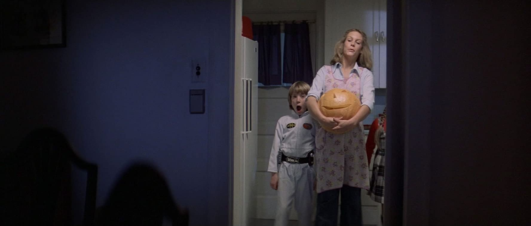 Jamie Lee Curtis and Brian Andrews in Halloween (1978)