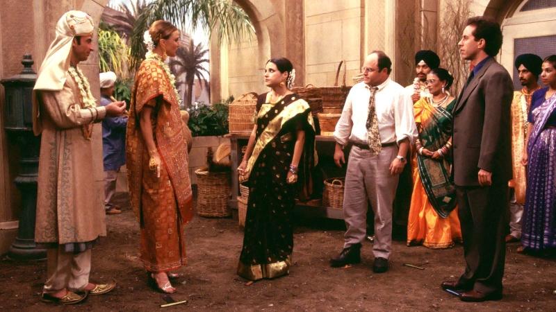 Julia Louis-Dreyfus, Jerry Seinfeld, Jason Alexander, Brenda Strong, and Shaun Toub in Seinfeld (1989)